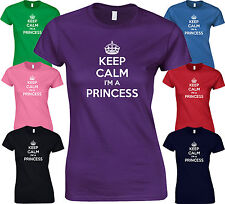KEEP CALM I'M A PRINCESS -Funny BIRTHDAY Fancy Dress Joke LADY FIT FITTED TSHIRT
