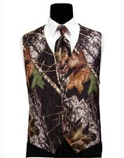 NEW Mens Mossy Oak Camo Tuxedo Vest Tie & Hankie Alpine Prom Wedding ALL SIZES