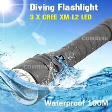 4000Lm Diving Scuba 3x CREE XM-L L2 LED 100m Waterproof Flashlight Torch 18650