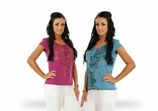 Ladies Floral Top Womens Short Sleeve Floral Summer Pink Blue T Shirt