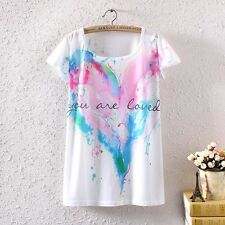 New Women Short Sleeve Sweet Heart  Letters Graphic Print T Shirt Blouse Top Tee