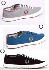 FRED PERRY Shoes Unisex Trainer Woodford Twill Blue,Black & Grey Sizes:UK 7 - 11