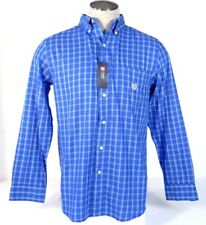 Chaps Blue Plaid Long Sleeve Button Front Shirt Mens NWT