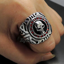 Mens Ruby Red CZs Skull 316L Stainless Steel Biker Ring
