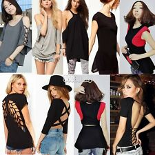 Sexy Women's Casual T-Shirt Blouse Backless Hollow Out Crew neck Crop Tops B5UT
