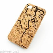C125 CORK CASE COVER FOR IPHONE 5 5S CHERRY BLOSSOM floral flower japanese wood