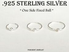 "22G 1/4'' 5/16' 3/8'' Sterling Silver Captive Bead Ring ""Fixed Ball"" Nose Hoop"