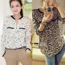 Women Cotton Blend Long Sleeve Casual Stars Leopard T-Shirt Top Blouse S M L XL