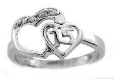 Quinceanera 15 Ring in Sterling Silver - Size 6, 8