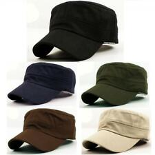 Classic Plain Vintage Army Military Cadet Style Cotton Cap Hat Adjustable beus