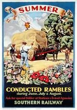Summer, Conducted Rambles. SR Vintage Travel poster print by Audrey Weber. 1936
