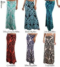 Ever77 Women Waist Banded Baroque,Ikat,Damask Long Maxi Dress Skirts/USA/TS1004