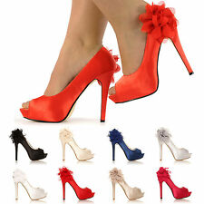 LADIES BRIDAL EVENING HIGH HEEL SHOES WOMENS SATIN PEEP-TOE PARTY SANDALS SIZE