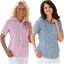 LADIES CHECKED SHIRTS SIZE 8 - 34 PLUS WOMENS SHORT SLEEVE CHECKED BLOUSE