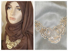 NEW ANTIQUE FILGREE DIAMANTE NECKLACE CHOKER CHAIN HIJAB SCARF SHAWL SCARVE