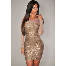 ED2999C-2  All-Over Sequined Sheer Long Sleeves Bodycon Club Dress