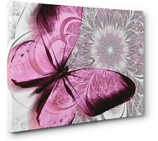 Abstract Canvas Print Floral Butterfly Pink Grey Unique Wall Art