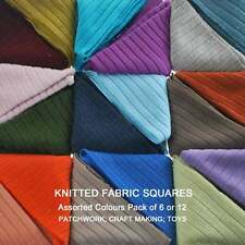 Neotrims Knit Rib Cut Fabric Squares Patchwork, Assorted Colours Pack of 12