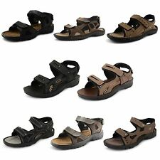 New Mens Leather Nubuck Velcro Strap Summer Beach Holiday Sandals UK Sizes 6-12