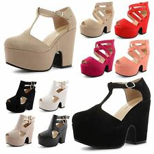 New Womens Peep Toe Strappy Buckle Cut Out Wedge Platform Chunky Fashion Sandals