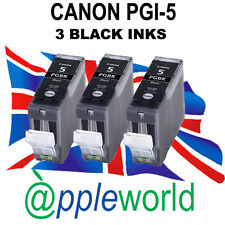 3 Canon PGI-5 BLACK Compatible Ink Cartridges [chipped]