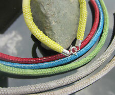 Faux Leather Cord Bracelet Skin Snake with 925 Sterling Silver Ends and Clasp