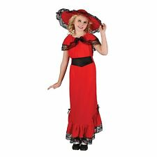 Child Girls Red Posh Victorian Scarlet Girl Fancy Dress Book Week Costume S M L