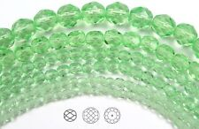 """Czech Fire Polished Round Faceted Beads in Light Peridot color 16"""" strand"""