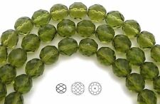 "Czech Fire Polished Round Faceted Beads in Olive Green color 16"" strand"
