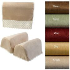 Chenille Rounded Arm Cap Pairs Sofa Furniture Chair Back Covers Protectors