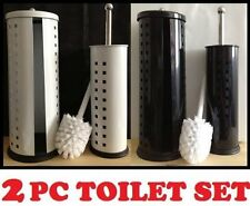 Harewood New Toilet Brush and Roll Holder Set Of Two White Or Black