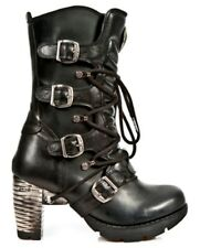 NEWROCK New Rock TR003-S1 Ladies Black Gothic Leather Lace Up Boots