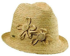 Scala Raffia Fedora with Side Braided Flowers LR603OS