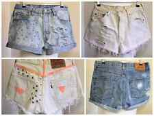 VINTAGE HIGH WAIST LEVI'S DISTRESSED STUDS BLEACHED GLOW SHORTS SIZES UK 6-16