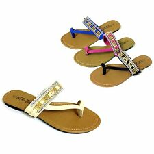 Womens Sandals Flip Flops Rhinestone Gold Metallic Toe Thongs Flat Slipper Shoes