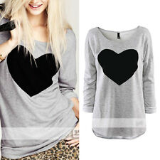 Hot Stylish Love Women Long Sleeve T-shirt Tops Cotton Blends*Shirt Tees Blouse