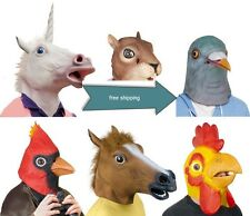 Animal ZOO Latex Mask Horse Pigeon Cosplay Halloween Party Costume Theater Prop