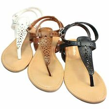 Womens Eyelet Leather Ankle Strap Sandals Flat Shoes City Classified THETOP-S