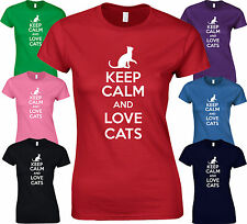 KEEP CALM AND LOVE CATS - Funny BIRTHDAY Cat Bed CATNIP Kitten LADY FIT TSHIRT