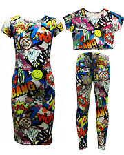 GIRLS KIDS NEW COMIC BOOK PRINT MIDI DRESS LEGGINGS TOPS 7 8 9 10 11 12 13 YEARS