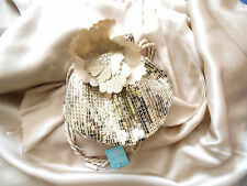 Bnwt Monsoon gold & navy Sequin Flower Pouch hand bags, weddings party,birthday