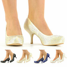 LADIES DIAMANTE PROM WEDDING PARTY SHOES LOW MID HEAL PLATFORM WOMENS SHOES SIZE