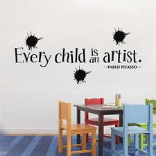 EVERY CHILD IS AN ARTIST Picasso Quote Decal WALL STICKER Home Decor Art SQ71