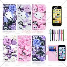 For iPhone 5C Luxury Magnetic Flip Leather Wallet Pouch Case Cover Free Film+Pen