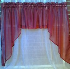 """Sheer Swag Valance 56""""X38"""" 10 Colors (Center Valance Sold Seperatly)"""