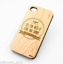 W156 REAL WOOD CASE COVER FOR IPHONE 5 5S ALL YOU NEED IS LOVE AND SUMMER dreams