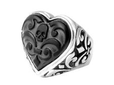 King Baby Studio Carved Jet Heart Ring Sterling Silver K20-5690