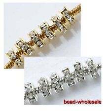 20pcs Zinc Alloy Silver/Golden Shiny Glass Crystal Paved Spacer Beads 4mm Hot