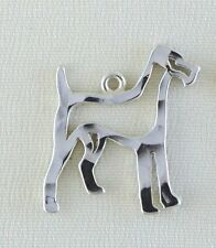 Airedale Fox Terrier Dog Outline Necklace w/Charm Jewelry ~ .925 Sterling Silver
