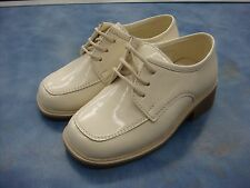Boys Ivory Dressy Shoes/Tuxedo /Laces/Shiny/Wedding/Size 6 Toddler to 6 Youth